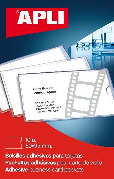 002580 Pochette Adhesive Pour Cartes De Visite 95 X 60 Mm