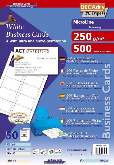 DPW260 Cartes De Visite MicroLine Multi Usage 85 X 54 Mm