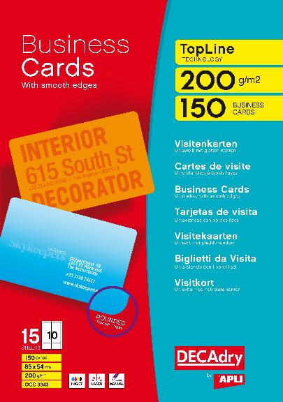 OCC3343 Cartes De Visite Topline Multi Usage 85 X 54 Mm