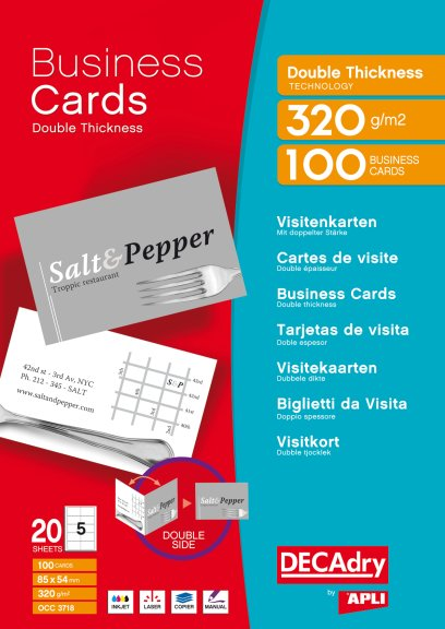 OCC3718 Carte De Visites Double Thickness Multi Usage 85 X 54 Mm