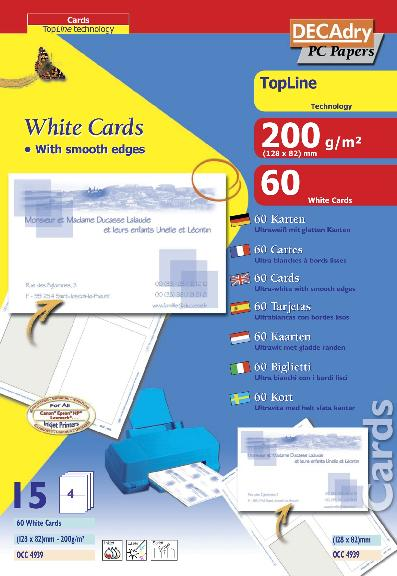 OCC4939 Cartes De Visite Topline Multi Usage 128 X 82 Mm