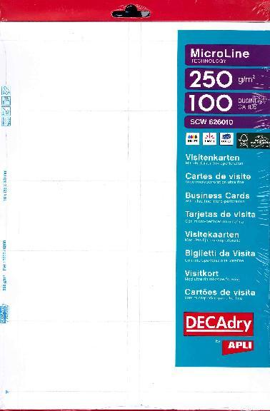 SCW626010 Cartes De Visite MicroLine Multi Usage 85 X 54 Mm